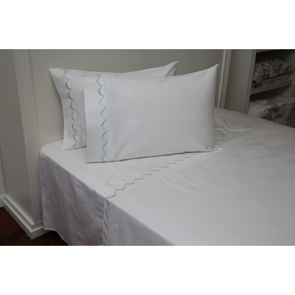 Pfeffer Scalloped 300 Thread Count 100% Cotton Sheet Set by One Allium Way